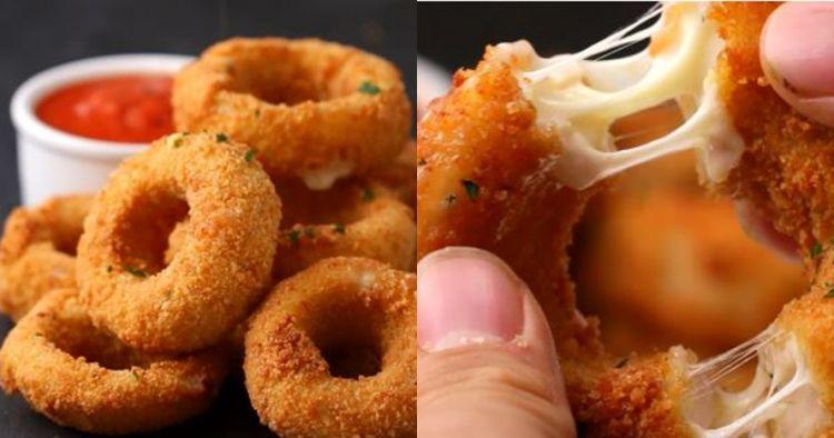 Yuk intip cara mudah bikin mozarella onion rings yang lumer di mulut