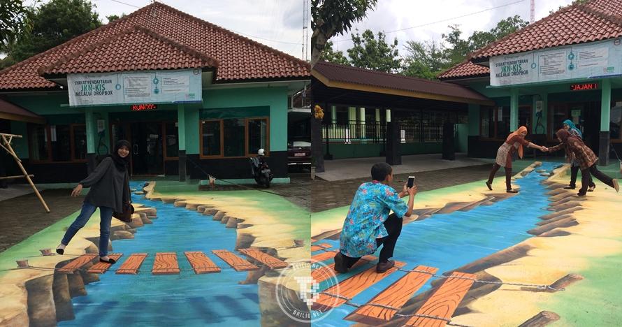 Kekinian abis, halaman kantor kecamatan di Bantul ini dilukis 3D
