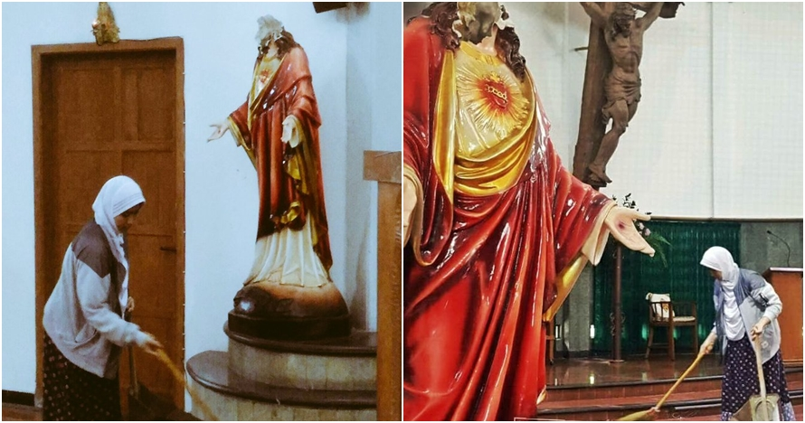 Viral wanita berhijab bersihkan Gereja St Lidwina di Jogja, bikin adem