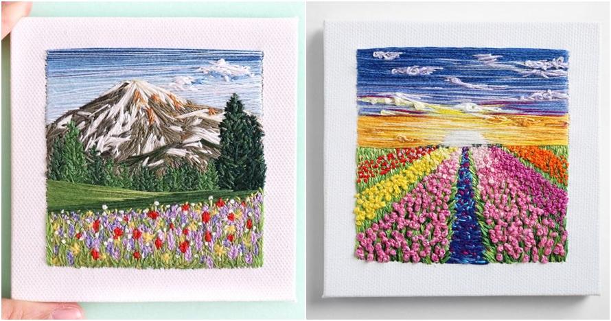 Cuma dari benang dan jarum, 15 lukisan pemandangan ini indah memukau