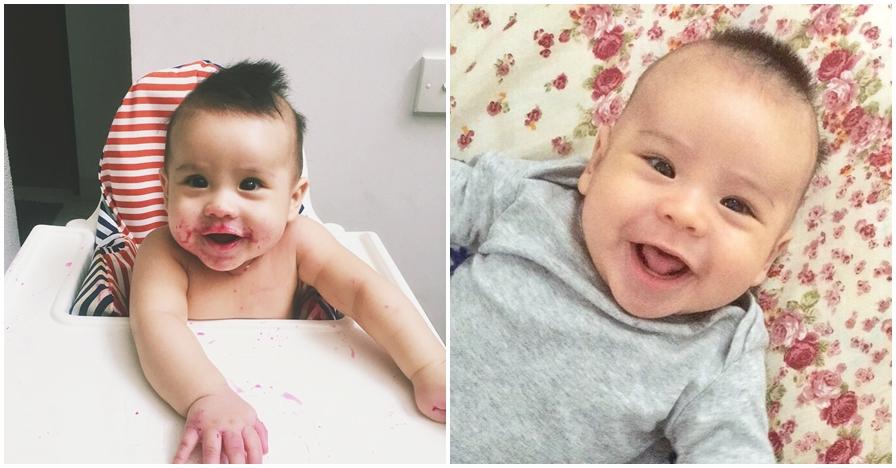 10 Pose menggemaskan baby Adam Hadi, cicit pedangdut Elvy Sukaesih