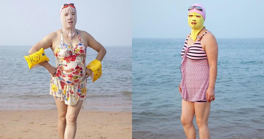 14 Gaya bikini orang China saat main ke pantai, biar nggak gosong