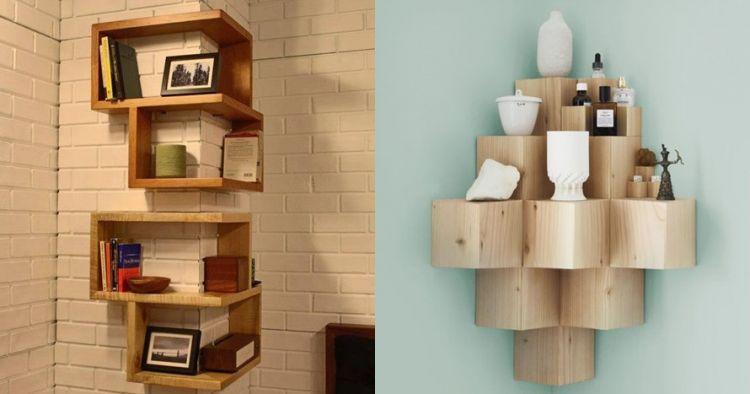 7 Ide desain rak dinding sudut ruangan yang nggak biasa ...
