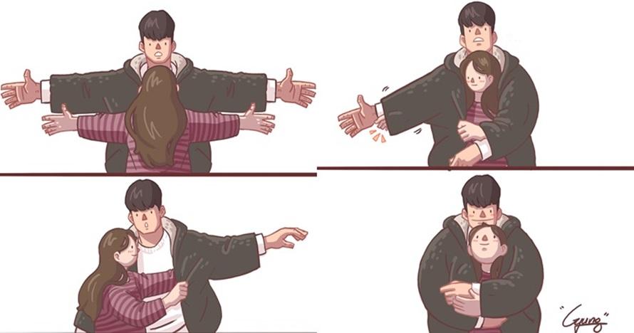 10 Ilustrasi minta peluk ini bakal bikin kamu kangen pacar, baper deh