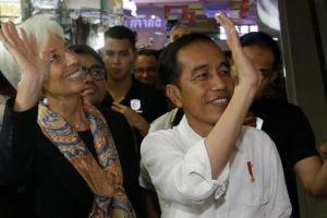 Terkesan sama Jokowi, Bos IMF Lagarde sebut 'blusukan' jadi 'blukusan'