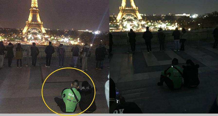 Viral, pria berjaket ojek online nongkrong di dekat Menara Eiffel