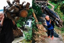 Berusia satu abad, nenek ini kuat gendong kayu naik-turun bukit