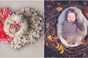 15 Foto pemotretan bayi dikelilingi bunga, keren dan bikin gemes