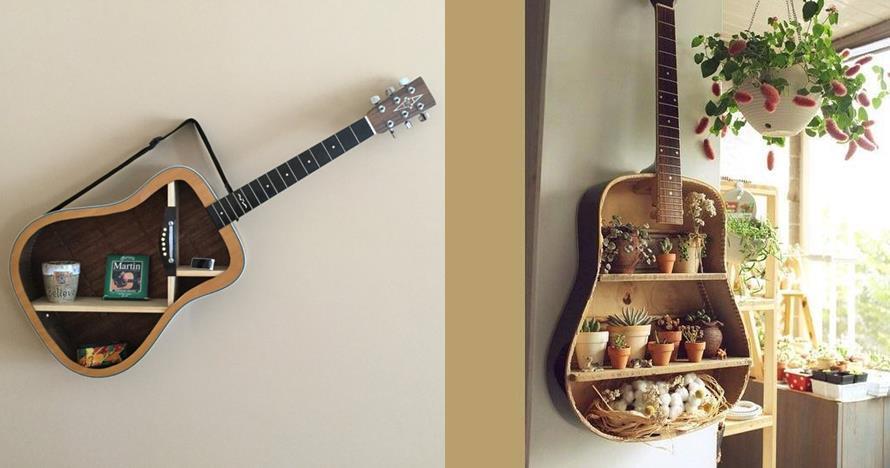 8 Inspirasi rak kece dari gitar bekas, artistik dan unik