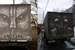 Menakjubkan, 10 lukisan dari debu ini bikin mobil kotor jadi indah