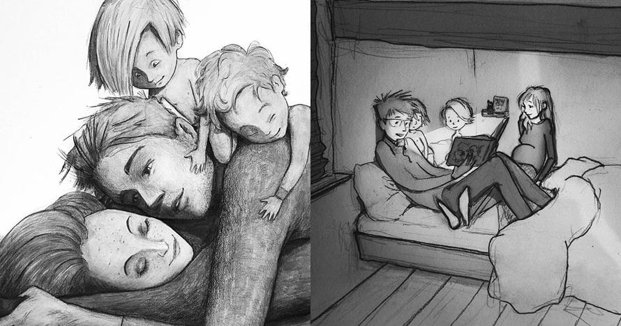 10 Sketsa keluarga bahagia ini bikin baper, jadi rindu sama ayah-ibu
