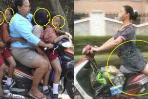10 Gaya nyentrik emak-emak naik motor bikin mules nahan tawa