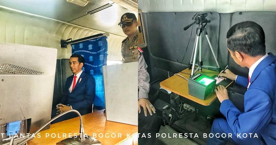 Berjas biru & dasi merah, begini gaya kece Jokowi saat perpanjang SIM