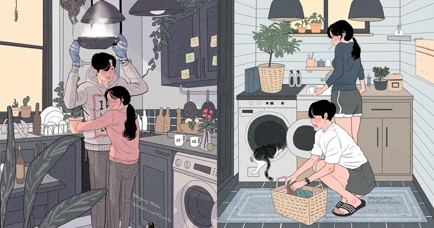 7 Ilustrasi romantisnya selesaikan pekerjaan rumah dengan pasangan