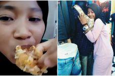 9 Aksi kocak Helen Junet, selebgram hits ulas makanan sambil ngerap