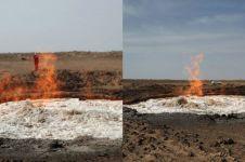 Api ini bisa menyala di tengah air, 5 fotonya bikin melongo