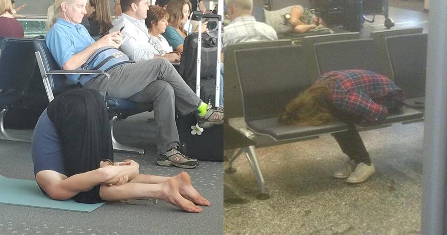 10 Potret orang kelelahan di bandara ini posenya bikin geleng kepala