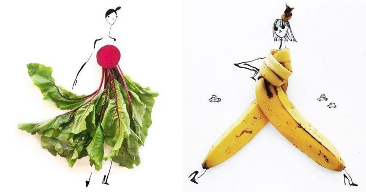 10 Sketsa busana dari buah dan sayuran ini hasilnya bikin takjub