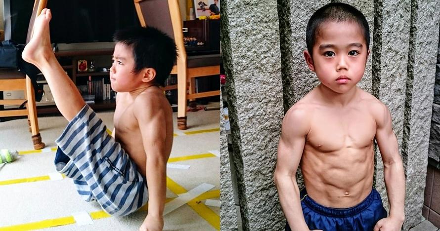 9 Potret tubuh kekar Ryusei, bocah 8 tahun yang suka tirukan Bruce Lee