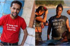 10 Tahun traveling, pria ini potret 10 kaus dengan tulisan tak terduga