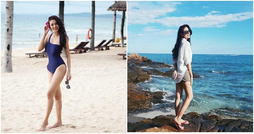 10 Pose Faye Malisorn pacar Ivan Gunawan di pantai, seksinya menawan