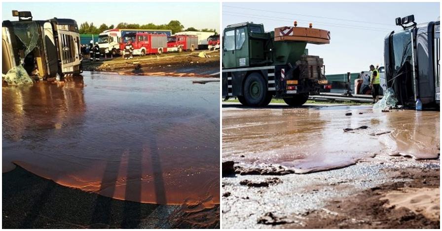 Truk tangki ini terguling, cokelat 12 ton yang dibawa banjiri jalanan