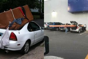 10 Cara tak biasa saat bawa barang pakai mobil ini bikin tepuk jidat