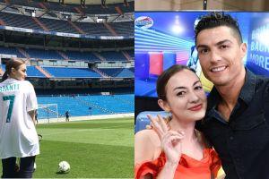 7 Gaya Rianti Cartwright foto bareng Cristiano Ronaldo, tampak akrab
