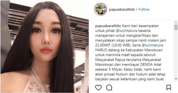 Dianggap melecehkan, Lucinta Luna dilaporkan masyarakat Papua Barat