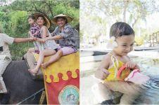7 Momen Chelsea Olivia liburan di Bali, kenalkan Natusha pada gajah