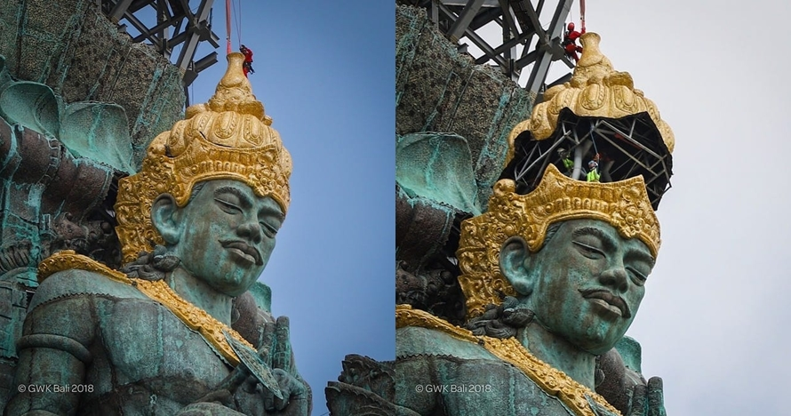 11 Potret detik-detik pemasangan mahkota patung Garuda Wisnu Kencana
