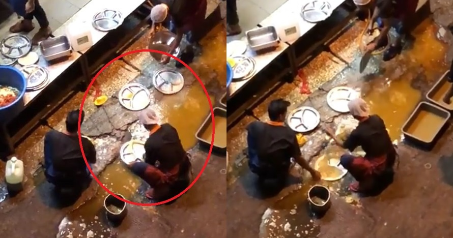 Restoran ini cuci piring pakai air kubangan di jalan, bikin geram