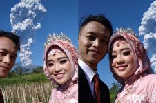 Potret langka, pasangan ini prewed dengan latar Gunung Merapi erupsi
