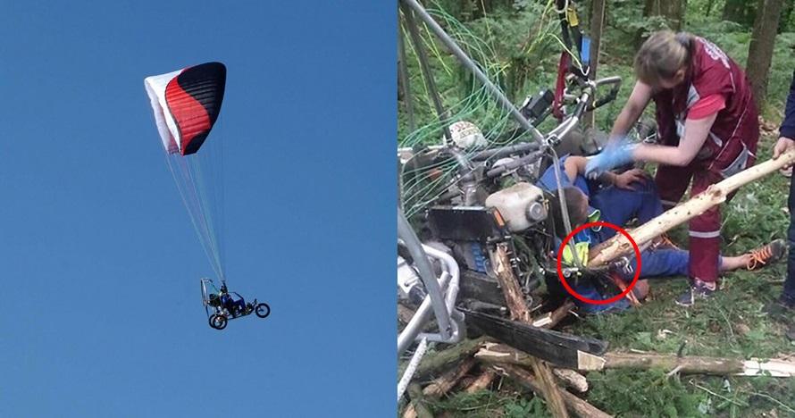 Ngeri, bahu cowok ini tertembus batang pohon besar saat paragliding