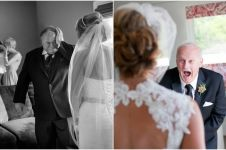 Potret 10 ayah pengantin wanita saat lihat putrinya ini bikin terharu