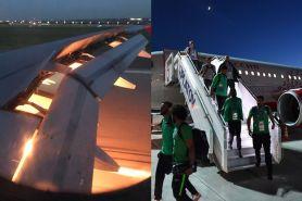 6 Momen pesawat Timnas Arab Saudi terbakar di udara, mendarat selamat