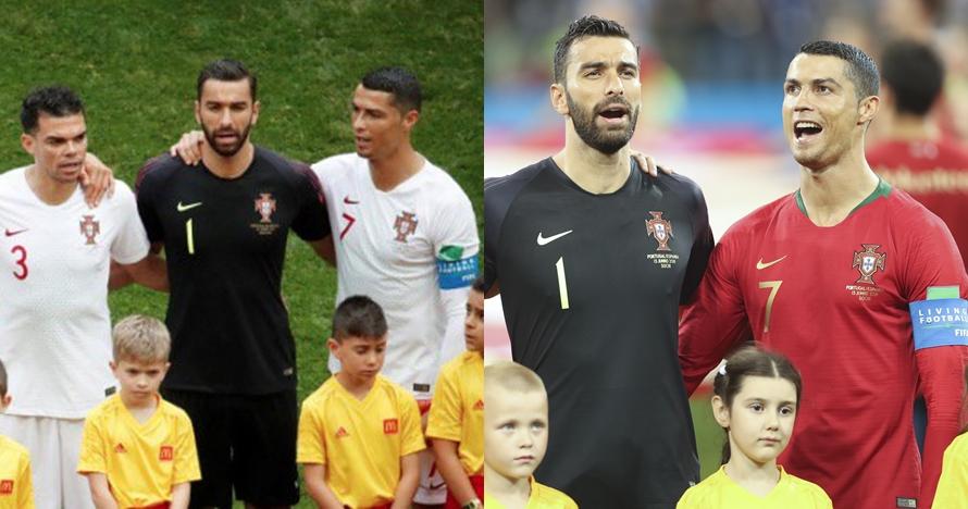 Ini alasan CR7 berbeda posisi saat lagu kebangsaan Portugal diputar