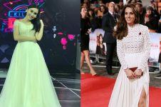 Pakai baju kembaran Kate Middleton, gaya Ayu Ting Ting jadi sorotan