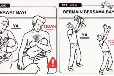10 Ilustrasi cara merawat bayi, bikin ngakak tapi nggak boleh ditiru