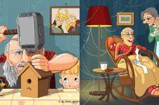 Begini 10 ilustrasi superhero kalau sudah tua, masih gagah nggak ya?
