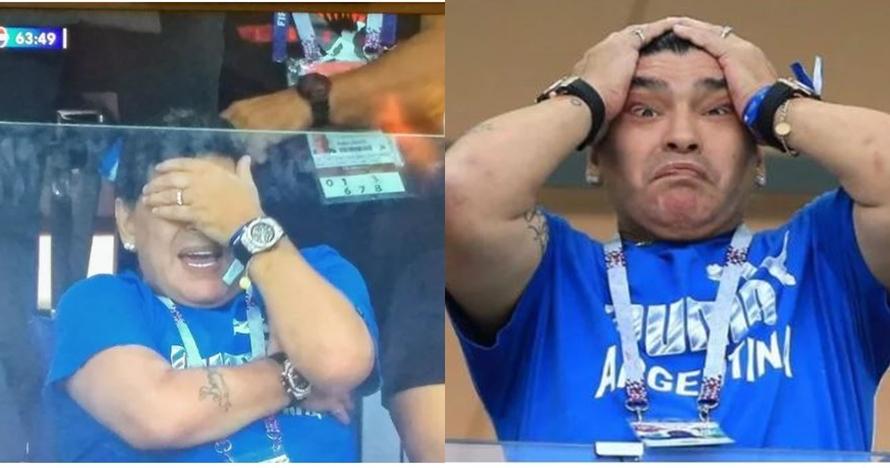 6 Reaksi Maradona saat nonton laga Argentina, heboh dan ekspresif