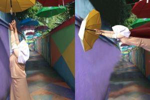 8 Foto editan 'cewek pengen payungan' ini hasilnya malah absurd parah