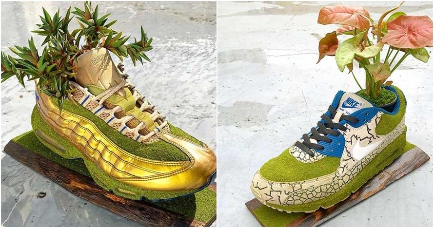 Pria Jepang ini sulap sneakers bekas jadi 10 pot tanaman, inspiratif
