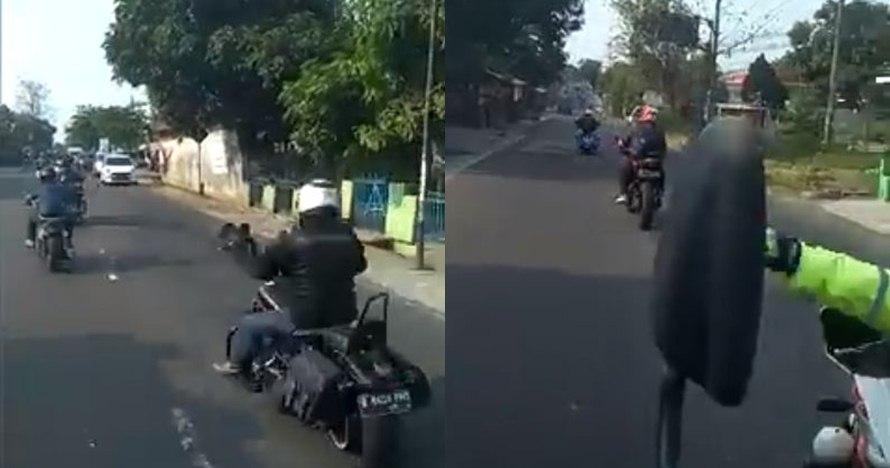 Viral video arogansi konvoi moge, pukul spion hingga picu kecelakaan