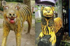 10 Potret patung macan unik ini cuma ada di Indonesia, nyentrik abis