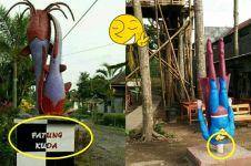 8 Patung aneh ini cuma ada di Indonesia, absurdnya bikin tepuk jidat