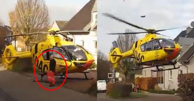 Bukan mobil, orang ini parkir helikopter di tepi jalan depan rumah