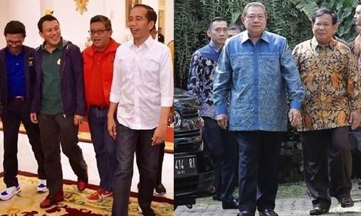 Ini beda 5 gaya pertemuan koalisi Jokowi & Prabowo bahas Pilpres 2019