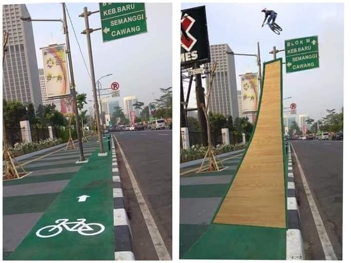 6 Meme jalur sepeda di Jakarta ini kocaknya bikin kamu ketawa zig-zag