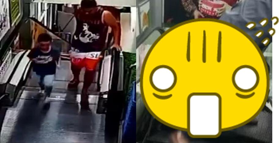 Detik-detik ayah & anak nyaris tewas saat naik eskalator ngeri abis